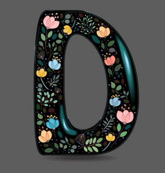 Black glared symbol d with watercolor flowers vector
