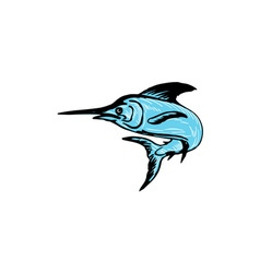 Blue Marlin Fish Jumping Drawing vector