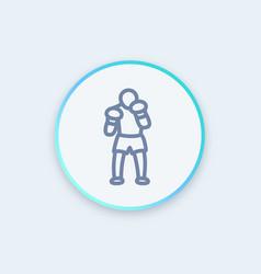 boxer icon linear pictograph vector image