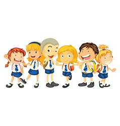 Boys and girls in school uniform vector