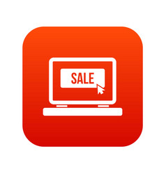 button sale on laptop icon digital red vector image