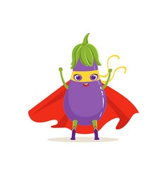 Cartoon character of superhero eggplant with hands vector