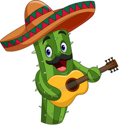 cartoon mexican cactus playing guitar vector image
