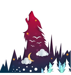 cartoon night landscape wolf vector image