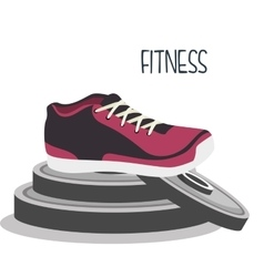 cartoon sneakers fitness sport elements design vector image