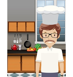 Chef standing in the kitchen vector