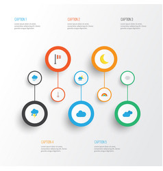 Climate flat icons set collection of lightning vector