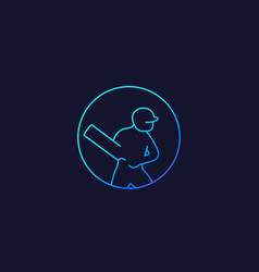 Cricket icon player with bat linear vector
