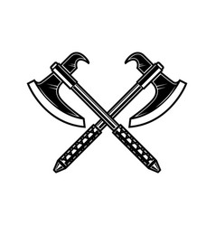 crossed medieval axe design element for label vector image