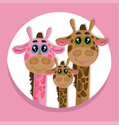 cute giraffes family cartoon icon vector image