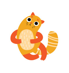 cute sad cat funny animal pet character vector image