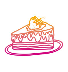 degraded line delicious cake with strawberry fruit vector image