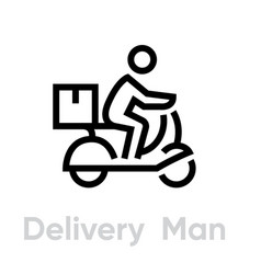 delivery man bike icon editable line vector image