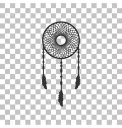 Dream catcher sign Dark gray icon on transparent vector