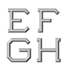E f g h gray faceted letters prismatic retro vector
