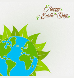 Earth day card of green planet with leaf vector