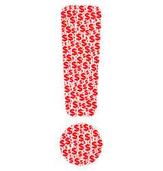Exclamation sign collage of dollar and dots vector