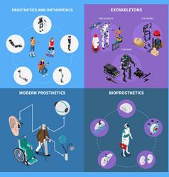 Exoskeleton bionic prosthetics concept icons set vector