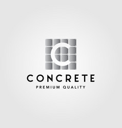 Faux concrete letter c exposed wall panel logo vector