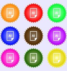 File ai icon sign big set of colorful diverse vector