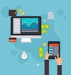 Flat design concepts of online payment metho vector