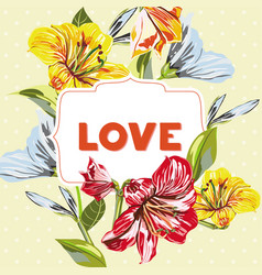 flower pattern wish inscription love vector image
