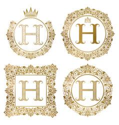 Golden letter h vintage monograms set heraldic vector