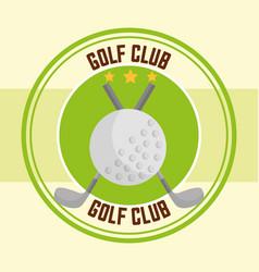 golf clubs ball sport stamp design vector image