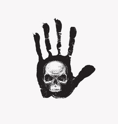 Hand-drawn banner with handprint and human skull vector