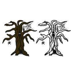 Hand drawn doodle Halloween tree Black pen vector image