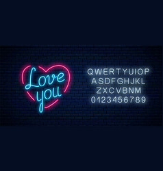 happy valentines day neon glowing festive sign vector image