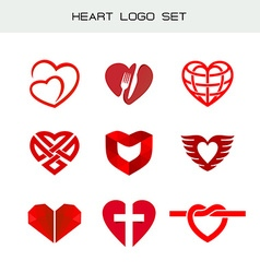 heart logo set red heart symbols heart icon vector image