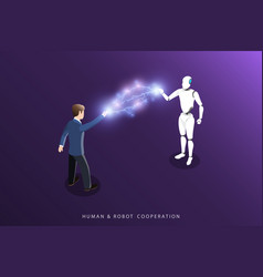 human and robot cooperation flat isometric vector image