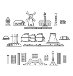 Industry hand drawn items vector