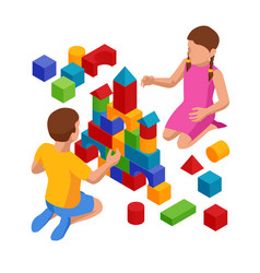 Isometric children stacks building cubes sitting vector