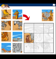 Jigsaw puzzle game with wild animal characters vector