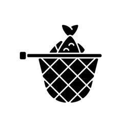 Landing net black glyph icon vector