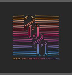 linear style number 2020 logo monogram design vector image