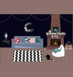living room decorated for christmas and new year vector image