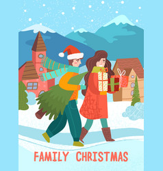 man and woman coming home with christmas presents vector image