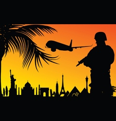 Man in uniform with famous monument vector