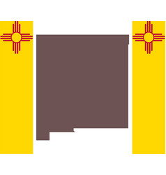 map new mexico on background with flag vector image