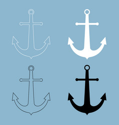 marine anchor the black and white color icon vector image