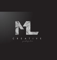 Ml m l letter logo with zebra lines texture vector