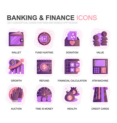 modern set banking and finance gradient flat icons vector image