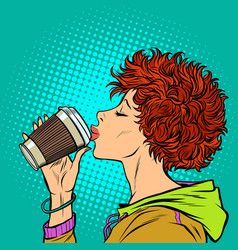 modern woman drinks a paper cup of coffee girls vector image