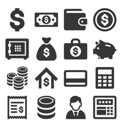 Money and banking icon set vector
