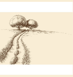 Nature wallpaper two trees on a hill and path vector