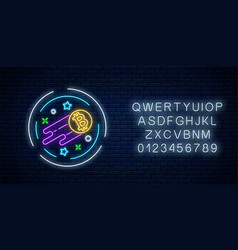 neon sign growing bitcoin currency with vector image