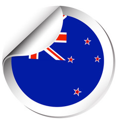 new zealand flag on round sticker vector image